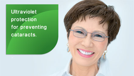 Ultraviolet protection for preventing cataracts.